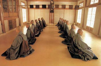 Monks in Medtiation Hall