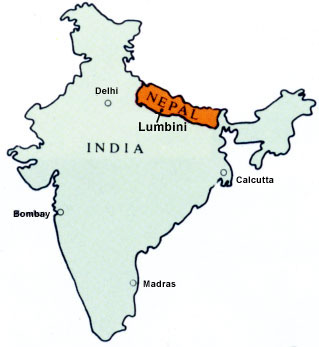 Map of location of Lumbini